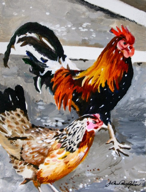 """""""Why do they cross the Road?"""" original fine art by JoAnne Perez Robinson"""