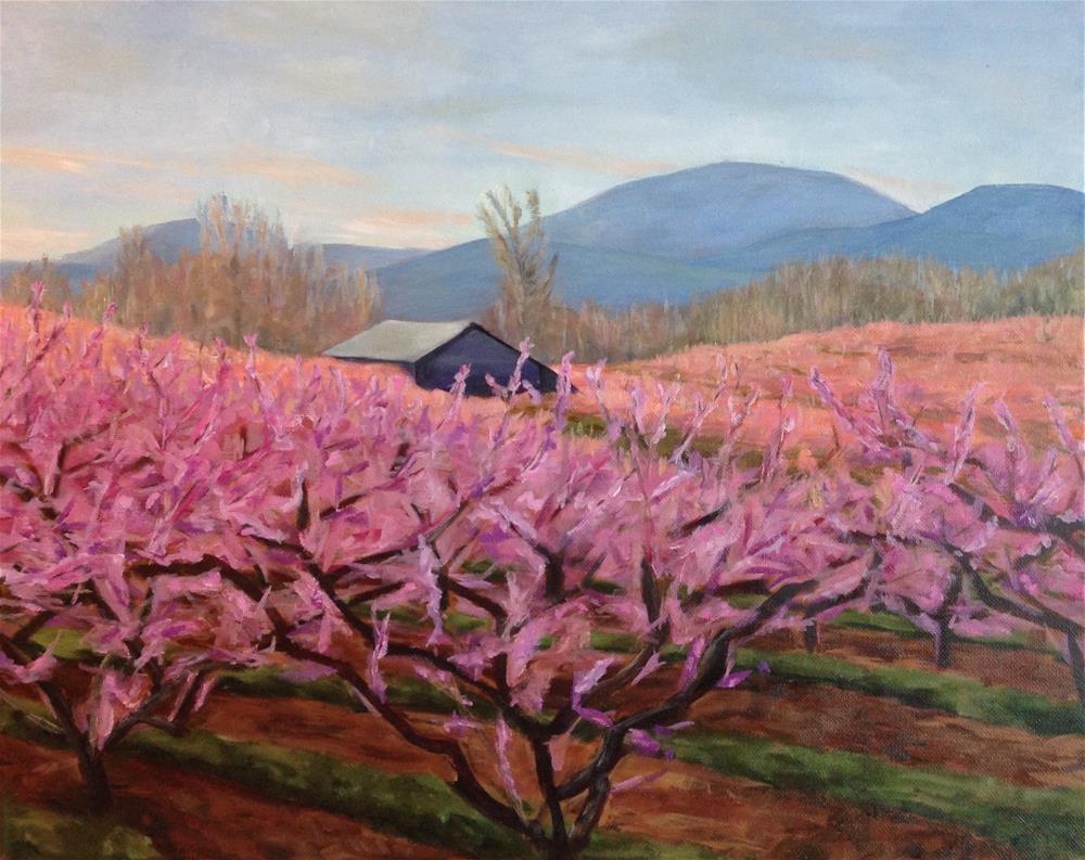 """""""Crozet Peach Orchard"""" original fine art by Karen Collins"""