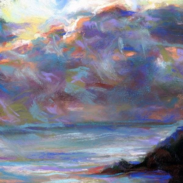 """A SUNRISE - 4 1/2 x 4 1/2 sky pastel by Susan Roden"" original fine art by Susan Roden"