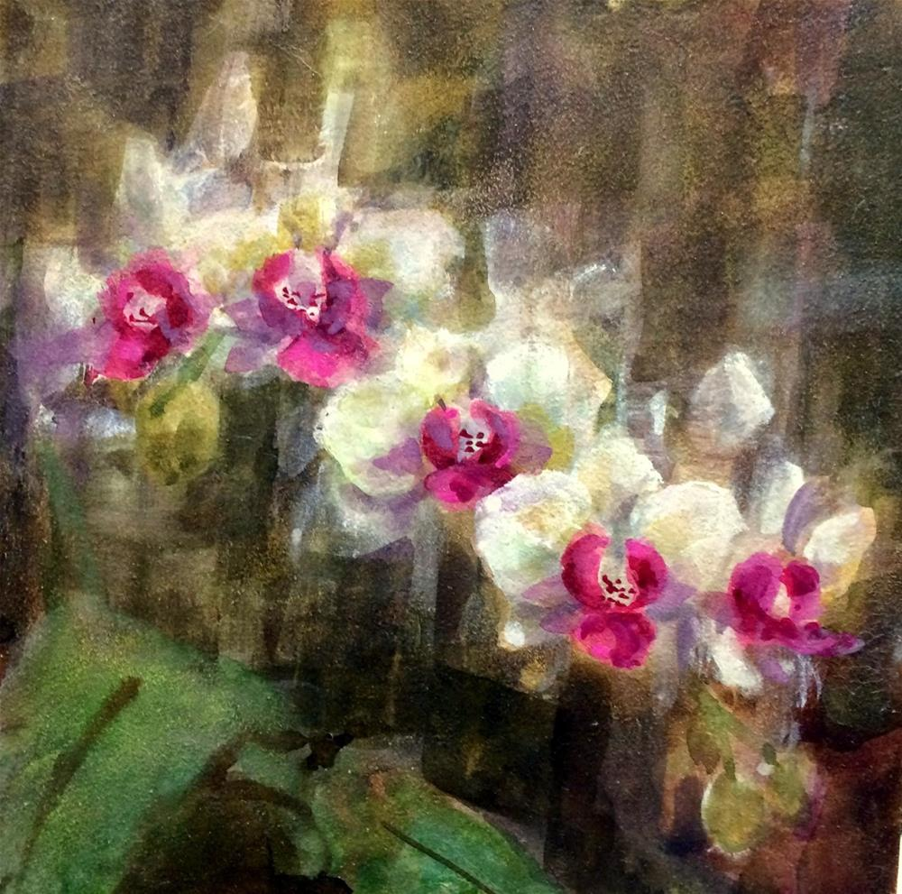 """""""Orchid Light -  Waxing Watercolor"""" original fine art by Julie Ford Oliver"""