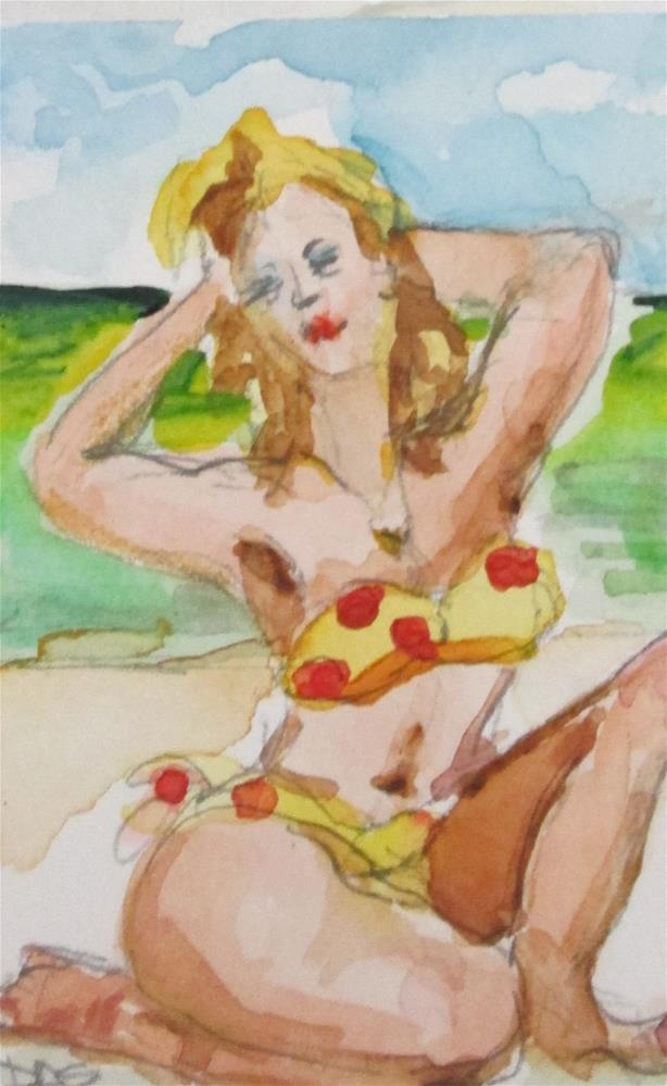 """Aceo Beach Beauty"" original fine art by Delilah Smith"