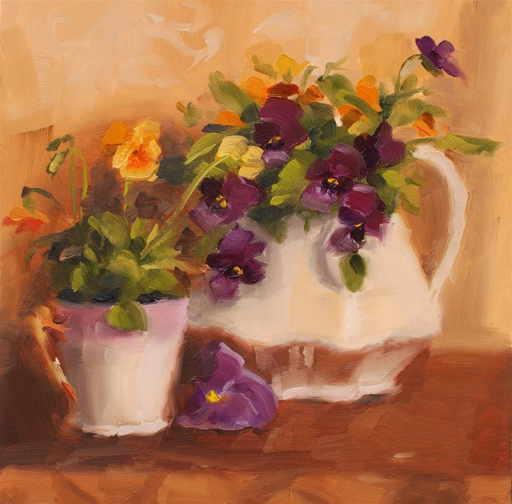 """No. 487 Kathy and her Pansies"" original fine art by Susan McManamen"