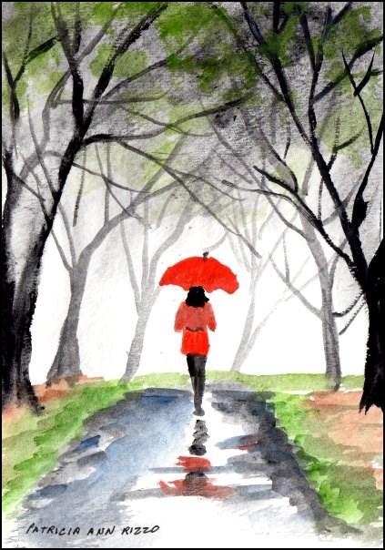 """""""Girl With the Red Umbrella"""" original fine art by Patricia Ann Rizzo"""