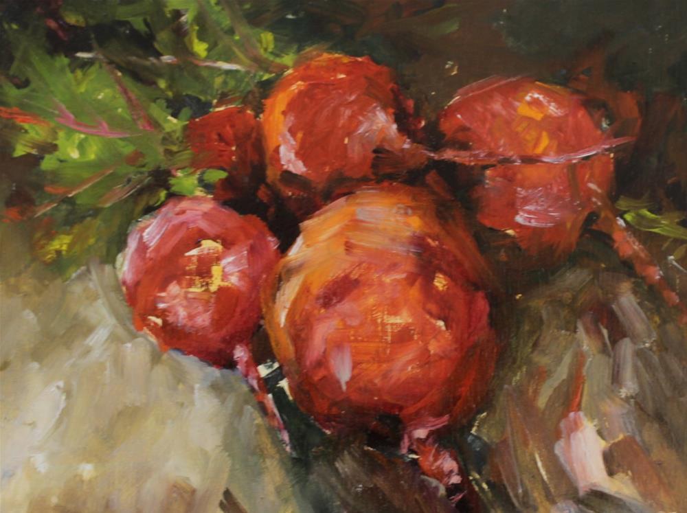 """Original oil beet food art kitchen painting"" original fine art by Alice Harpel"