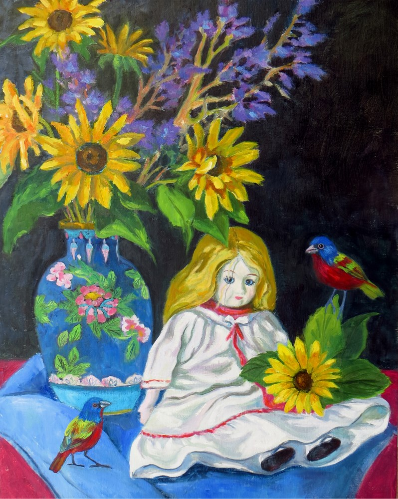 """Sunflowers and Doll"" original fine art by Rhett Regina Owings"