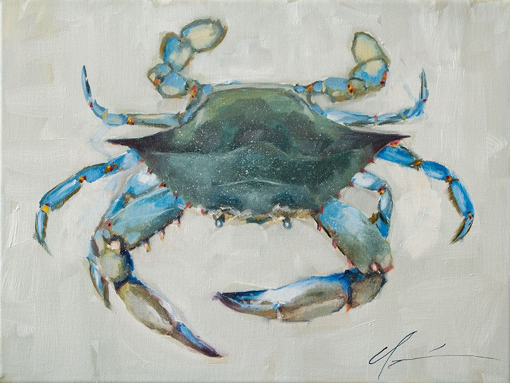"""Blue Crab"" original fine art by Clair Hartmann"