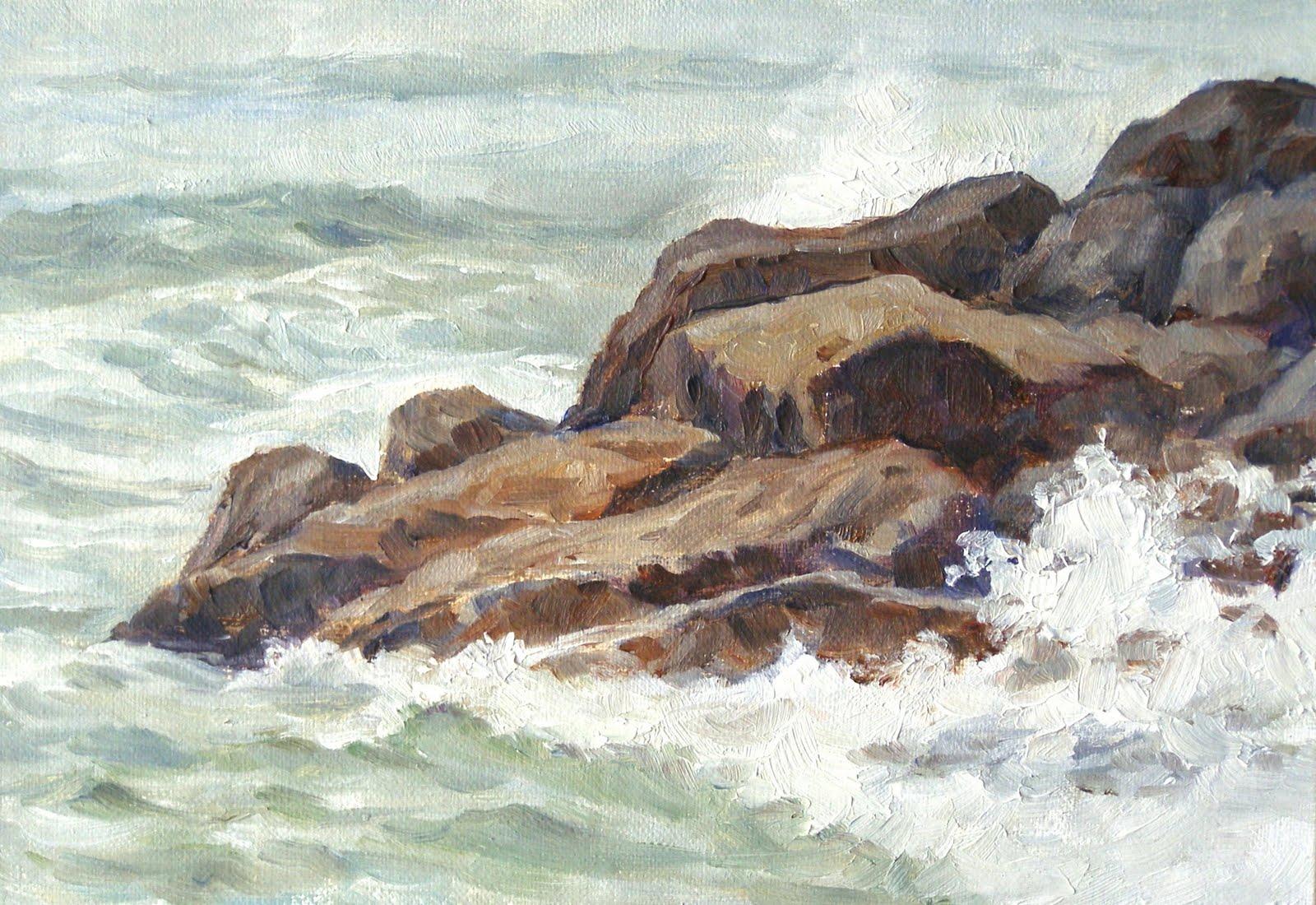 """""""Splash, 5x7, Oil on Linen on Panel"""" original fine art by Carmen Beecher"""