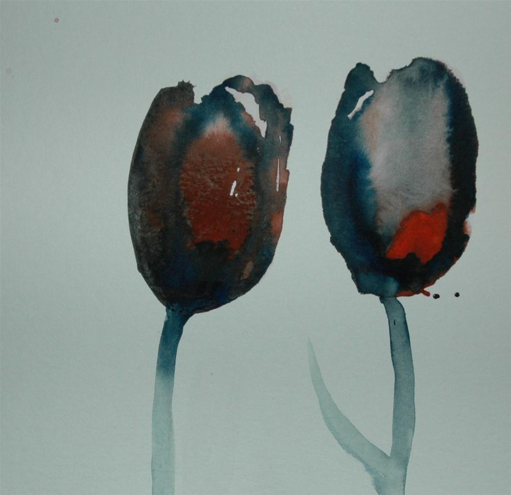 """Two tulips"" original fine art by Ulrike Schmidt"