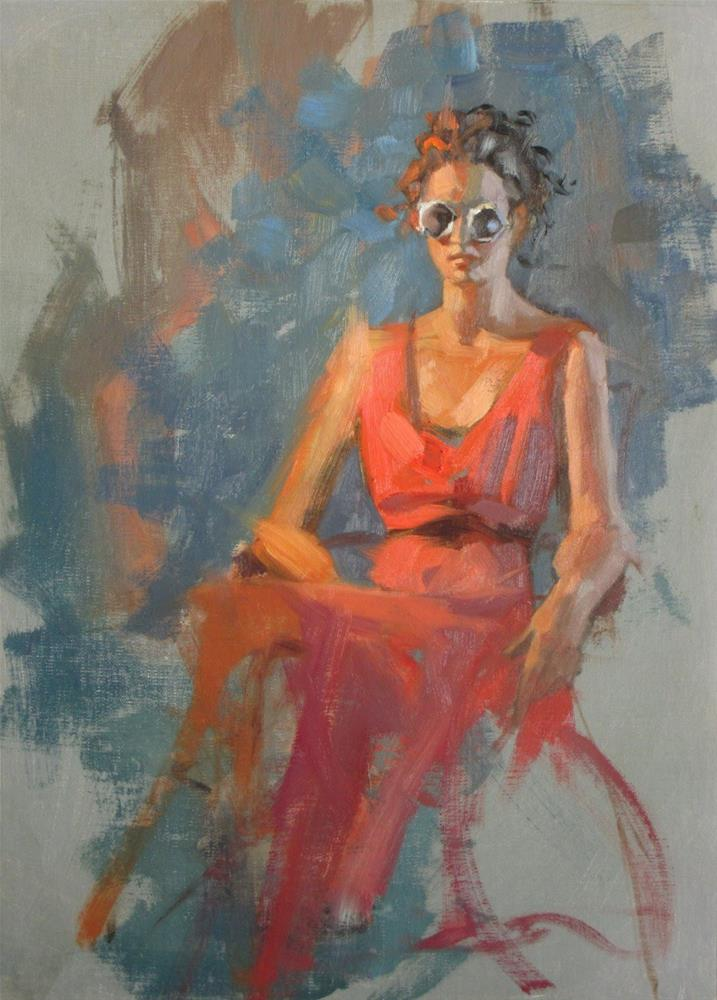 """White Sunglasses  14 x 11  oil"" original fine art by Claudia Hammer"