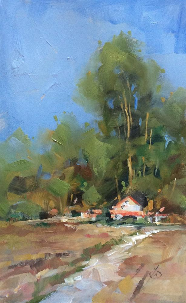 """LANDSCAPE WITH HOME & TREES"" original fine art by Tom Brown"