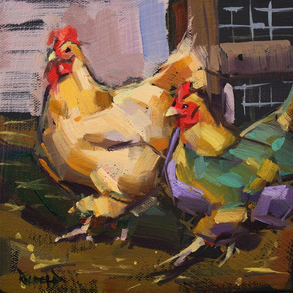 """Rainbow of Chickens"" original fine art by Cathleen Rehfeld"