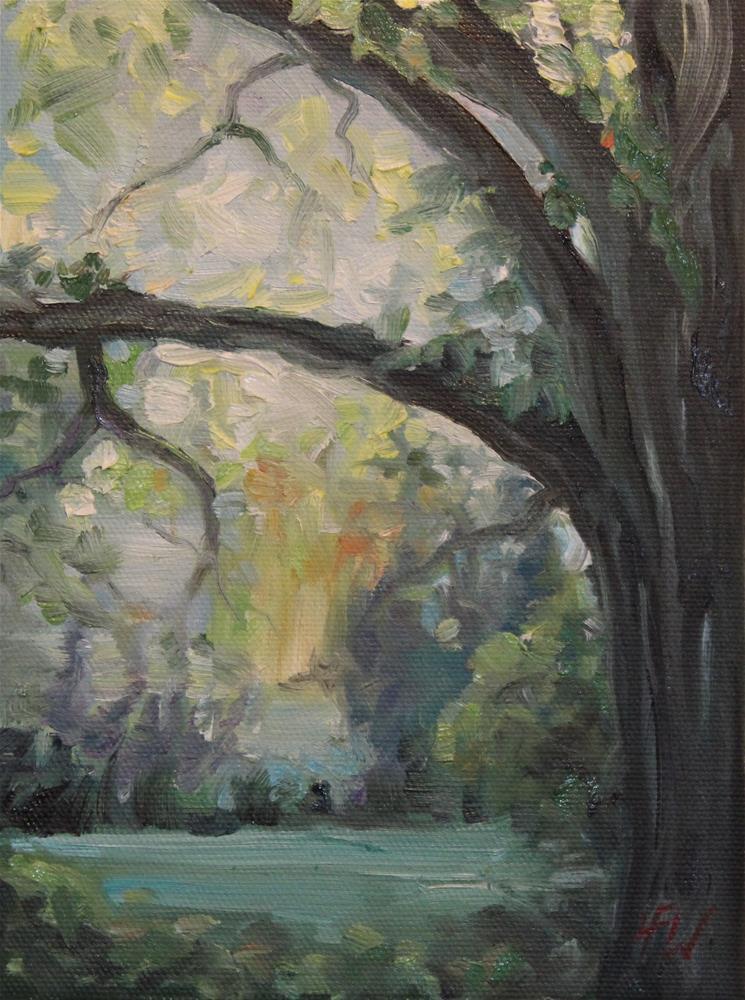 """""""Morning Light behind the Oak"""" original fine art by H.F. Wallen"""
