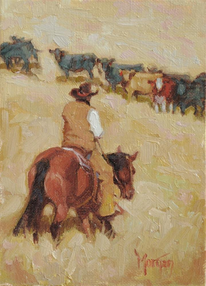 """The Red Heifer"" original fine art by Cecile W. Morgan"