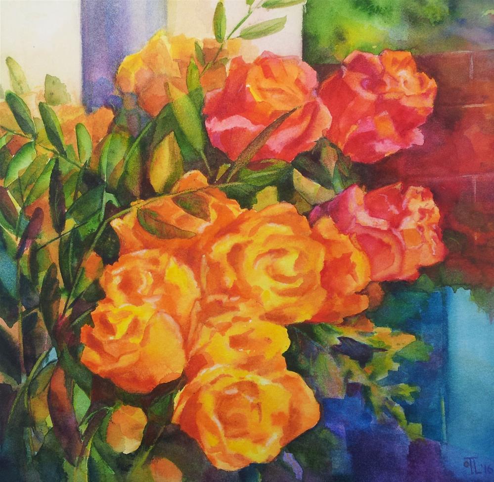 """Yellow roses by the window"" original fine art by Olga Touboltseva-Lefort"