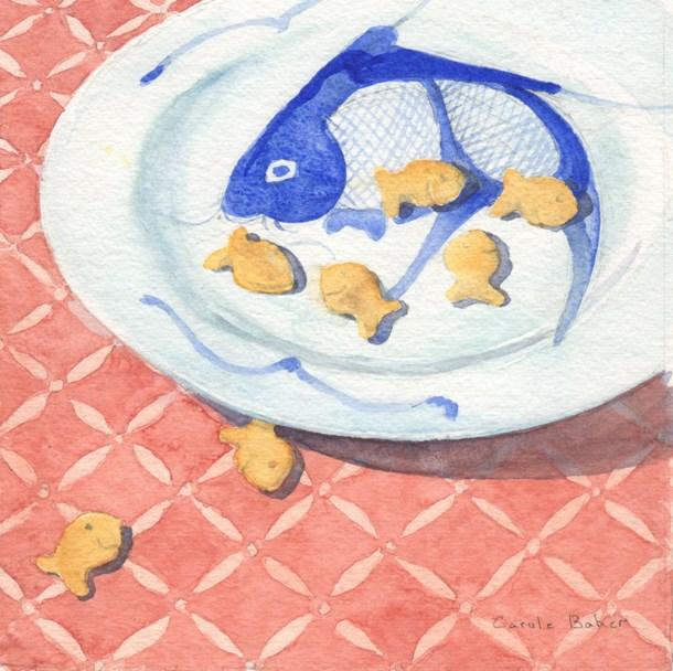 """Fish Bowl and Goldfish"" original fine art by Carole Baker"