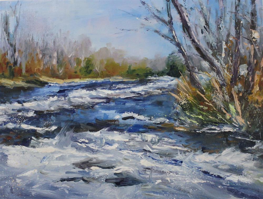 """Original oil creek snow winter ice painting"" original fine art by Alice Harpel"
