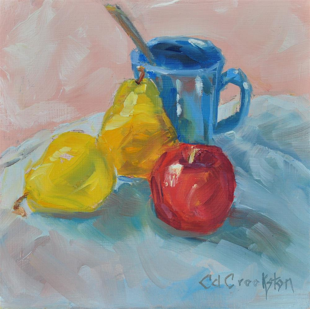 """""""Two Pear and an Apple"""" original fine art by Catherine Crookston"""
