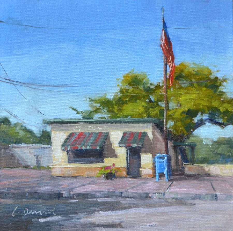 """U.S. Post - En Plein Air Texas!"" original fine art by Laurel Daniel"