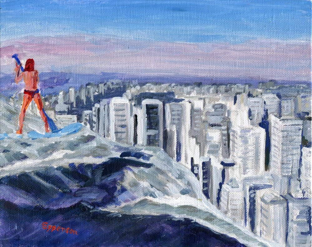 """Going Over Manhattan Falls"" original fine art by Stanley Epperson"