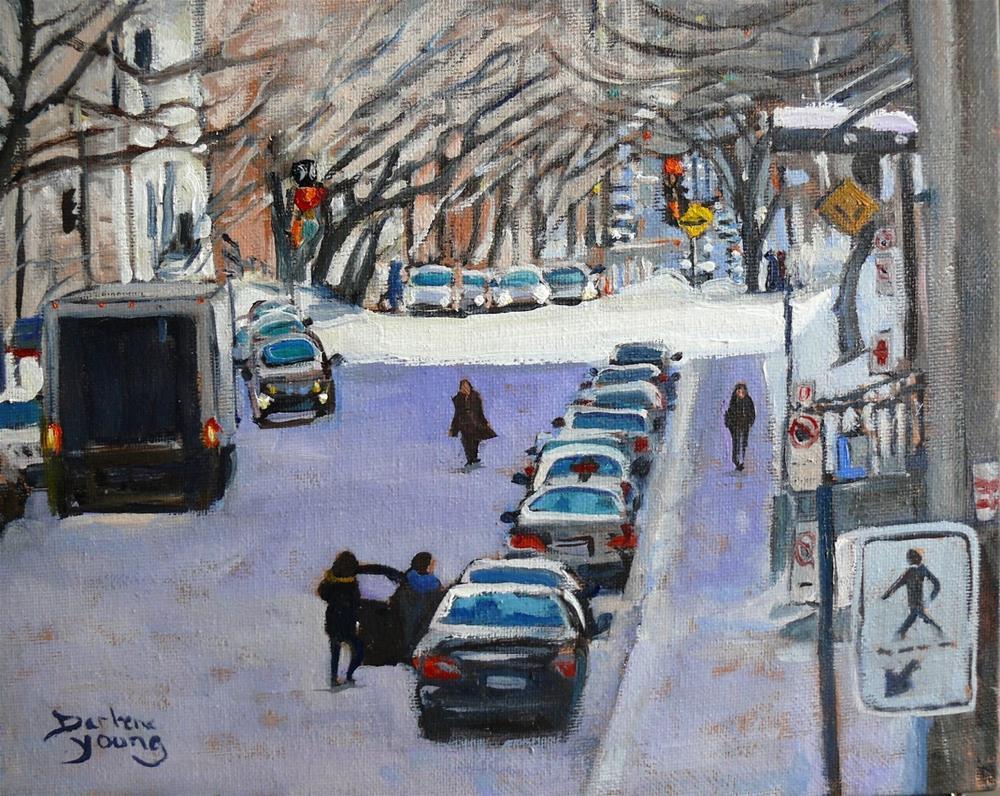 """""""986 Montreal Winter Scene, University, 8x10, oil on board"""" original fine art by Darlene Young"""