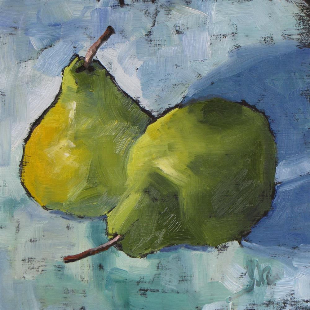 """Two Pears"" original fine art by Louise Kubista"