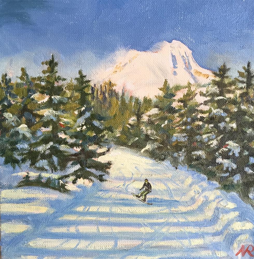 """Afternoon snowboarding"" original fine art by Natasha Ramras"