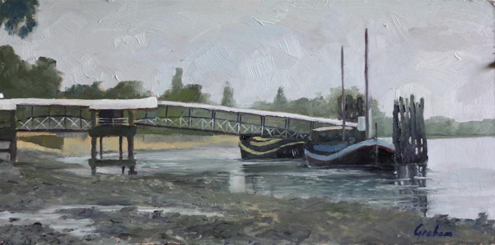 """Low tide at Putney Pier"" original fine art by Graham Townsend"