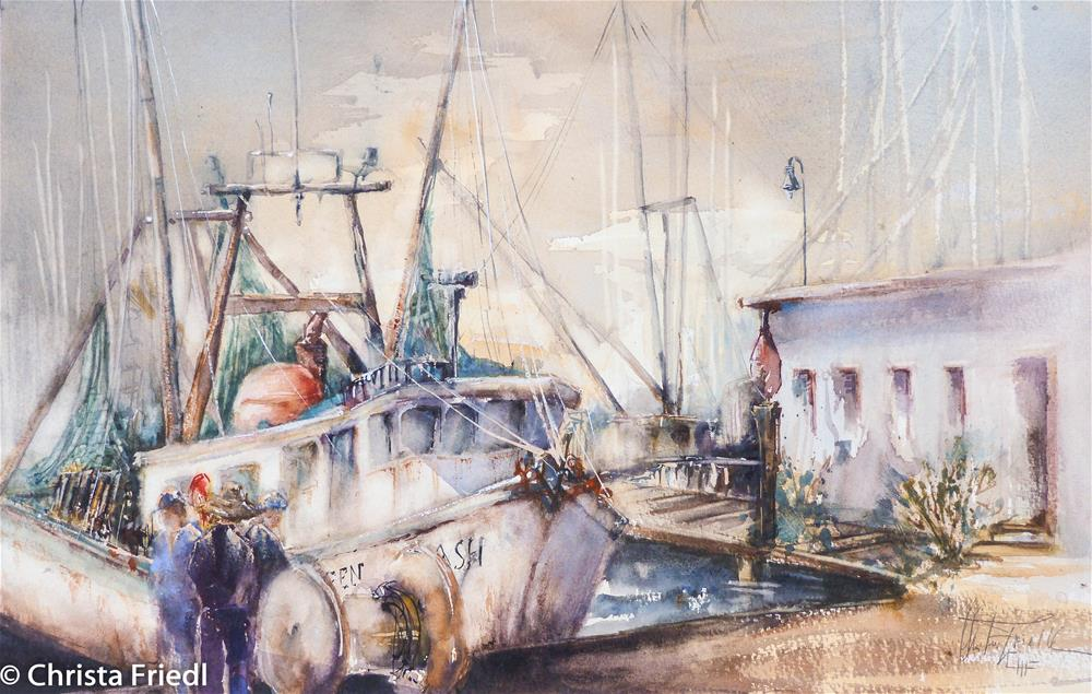 """Shrimp Boat – Fort Myers Beach Paint Out"" original fine art by Christa Friedl"