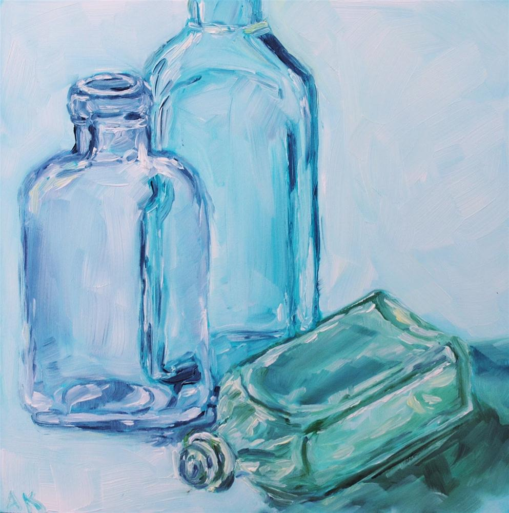 """""""Vintage Bottles 3"""" original fine art by Alison Kolkebeck"""