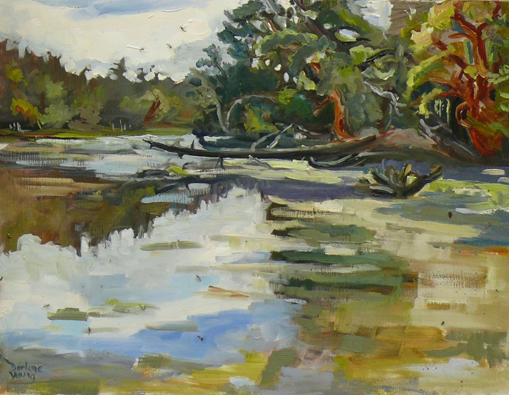 """Witty's Lagoon, oil on board, 12x16"" original fine art by Darlene Young"