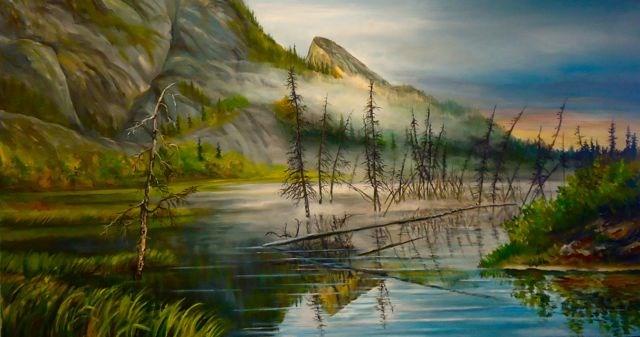 """Evening Pond on the Robert Campbell, Yukon"" original fine art by Jackie Irvine"