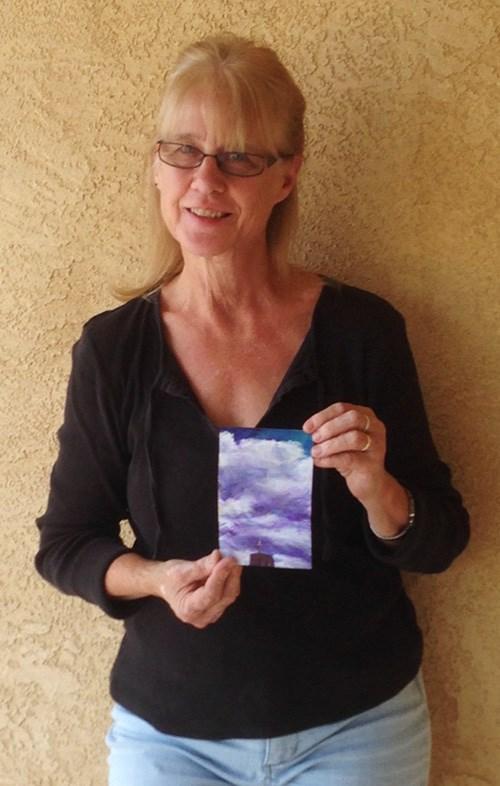 """PURPLE TURMOIL - 6 x 4 acrylic + pastel skyscape by Susan Roden"" original fine art by Susan Roden"