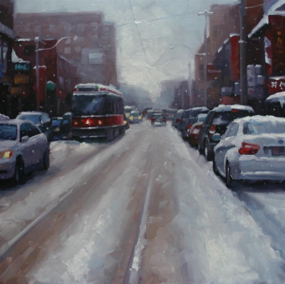 """Snow in Chinatown, Dundas Street, Toronto"" original fine art by Catherine Jeffrey"