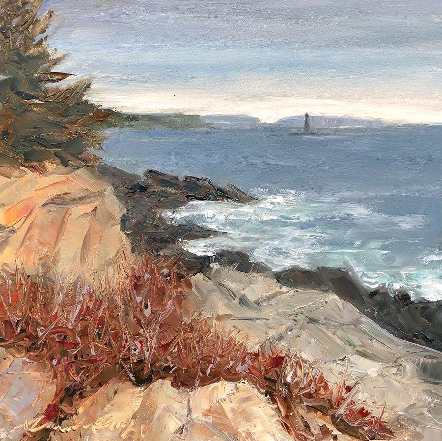 """#273-Ram Island Ledge Light-Fort Williams, ME"" original fine art by Sara Gray"