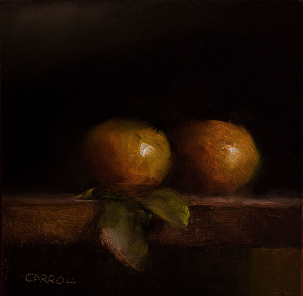 """""""Two Clementines"""" original fine art by Neil Carroll"""