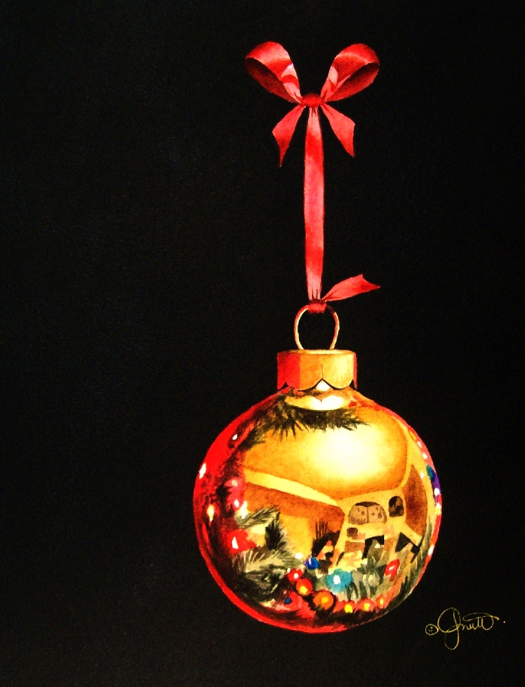 """A Christmas Bauble"" original fine art by Jacqueline Gnott, TWSA, WHS"