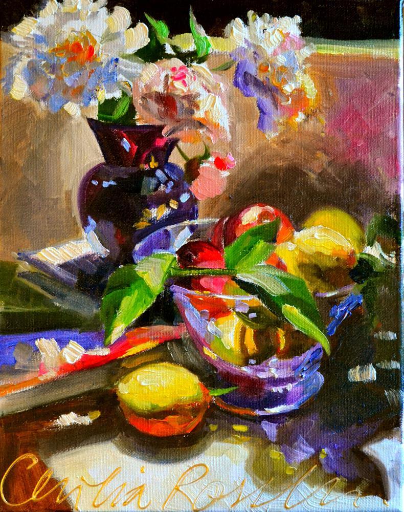 """JUST PICKED LEMONS"" original fine art by Cecilia Rosslee"