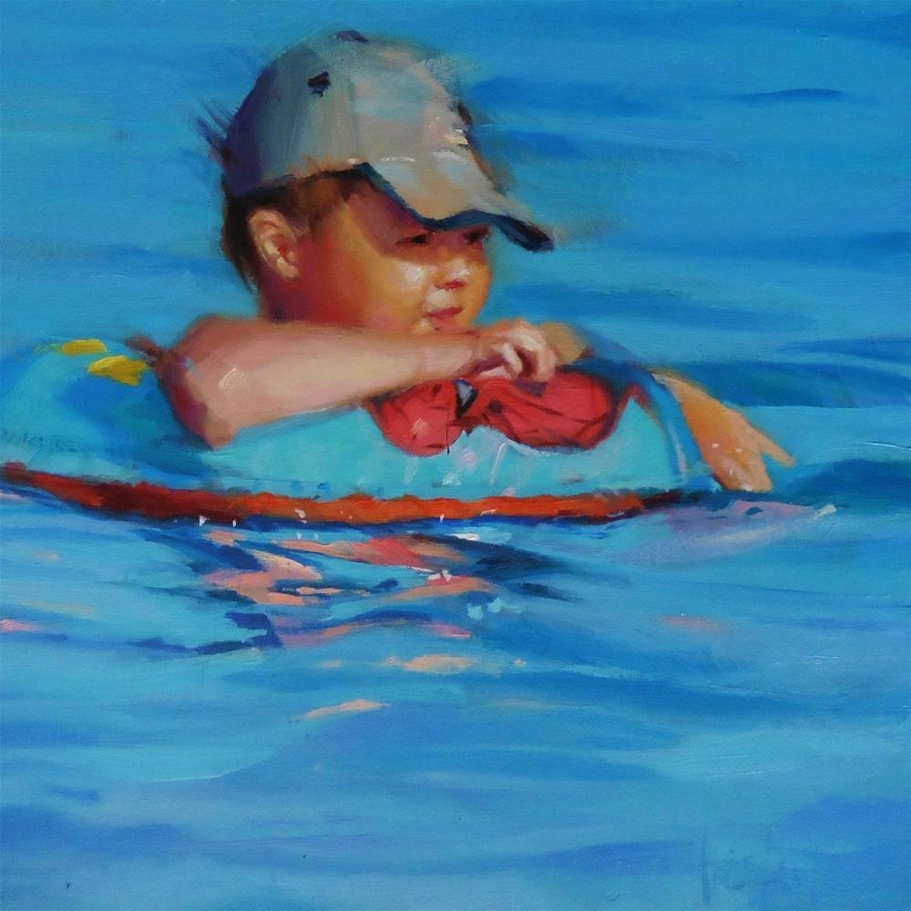 """Child swimming"" original fine art by Víctor Tristante"