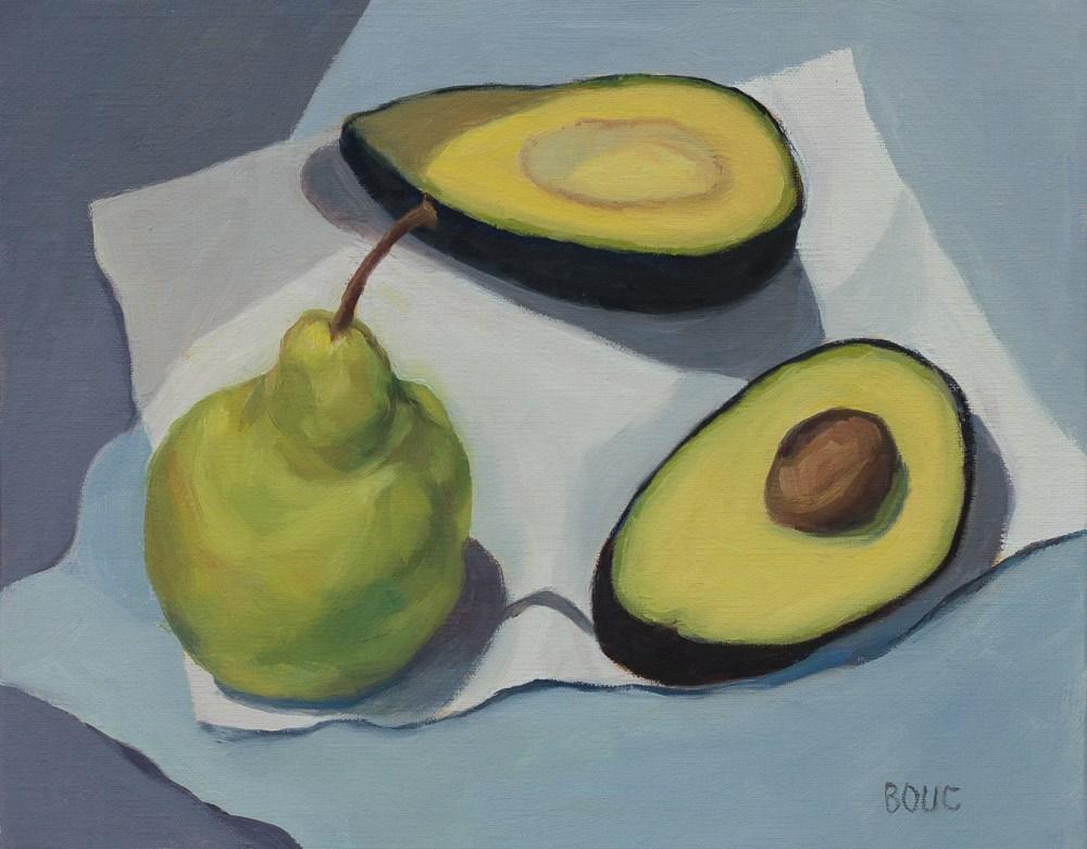"""Avocado and Pear"" original fine art by Jana Bouc"
