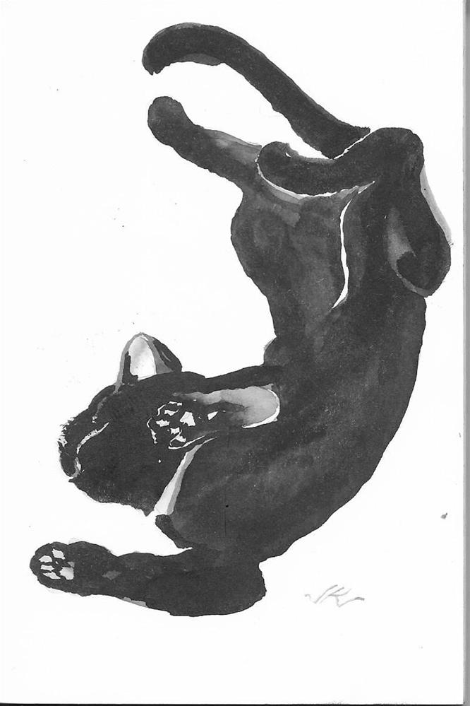 """CatRoll Cat 29"" original fine art by Jean Krueger"