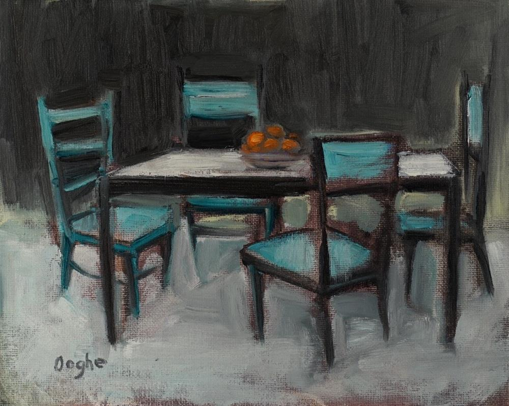 """""""Table with Oranges"""" original fine art by Angela Ooghe"""