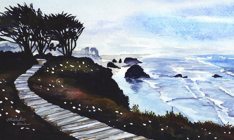 """Wooden Trail on the Cliff"" original fine art by Mariko Irie"