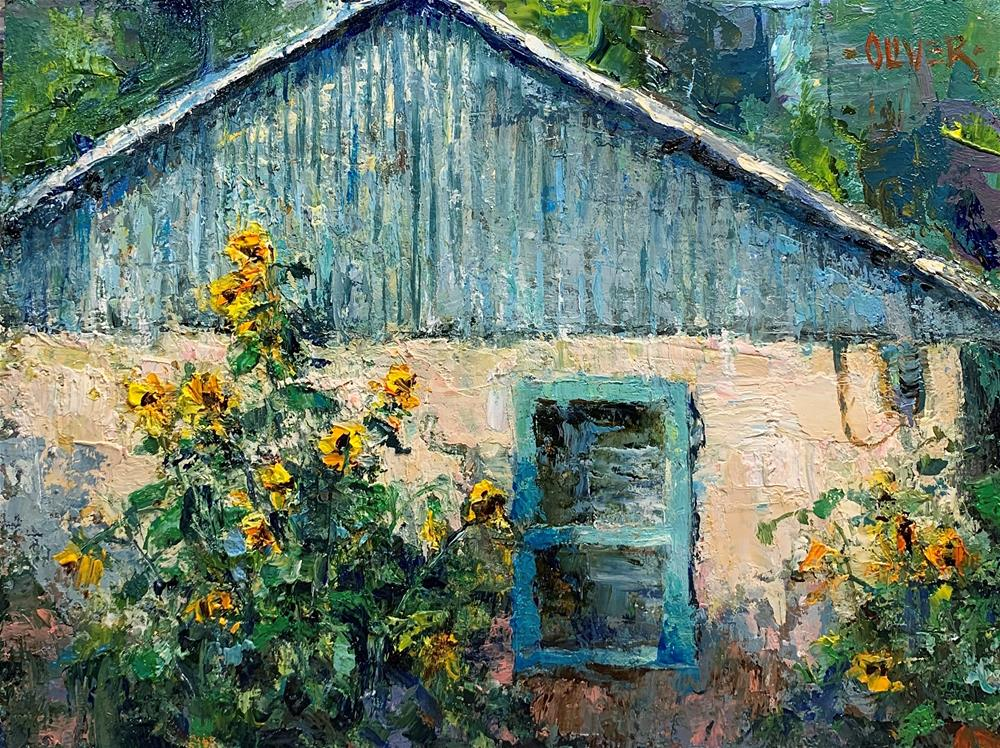 """""""Sunflowers At The Ranch"""" original fine art by Julie Ford Oliver"""