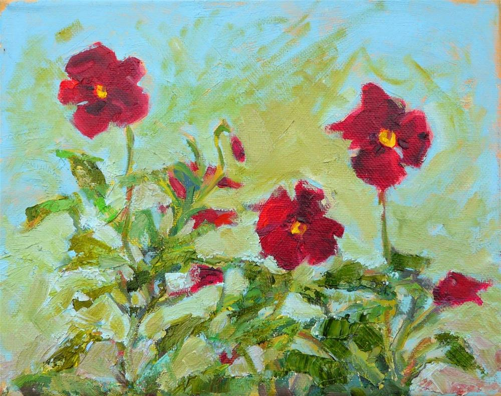 """Dancing Red Pansies,still life,oil on canvas,8x10,price$200"" original fine art by Joy Olney"