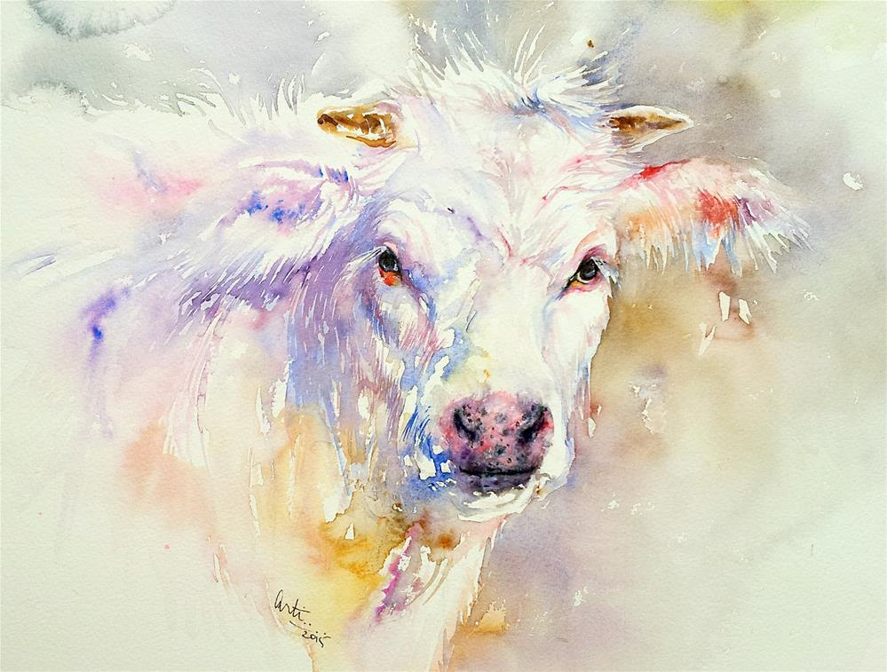 """""""Polly the Cow"""" original fine art by Arti Chauhan"""