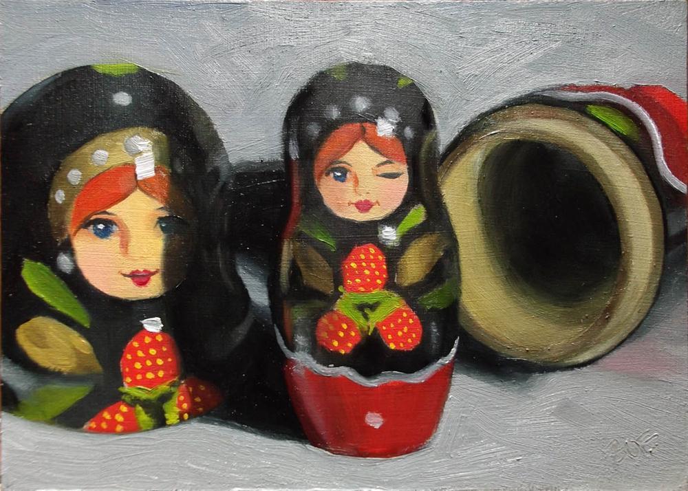 """Winking Matryoshka"" original fine art by Karen Boe"