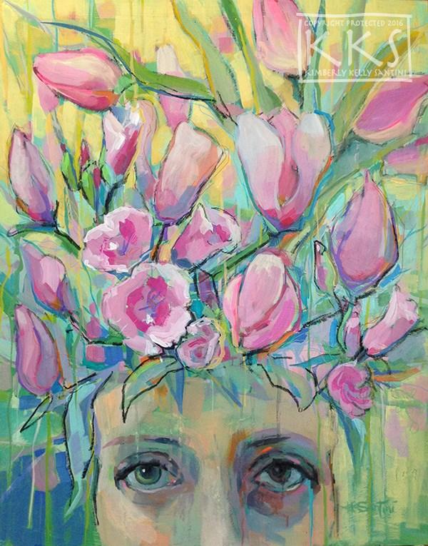 """Pretty in Pink"" original fine art by Kimberly Santini"