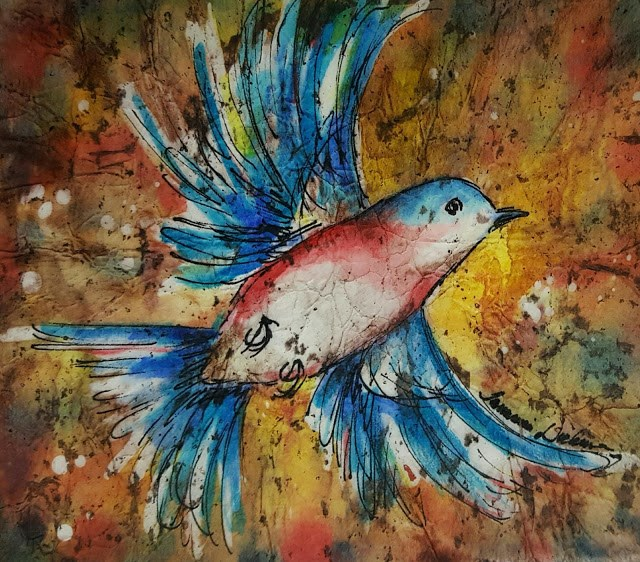 """Bluebird Flying"" original fine art by Tammie Dickerson"