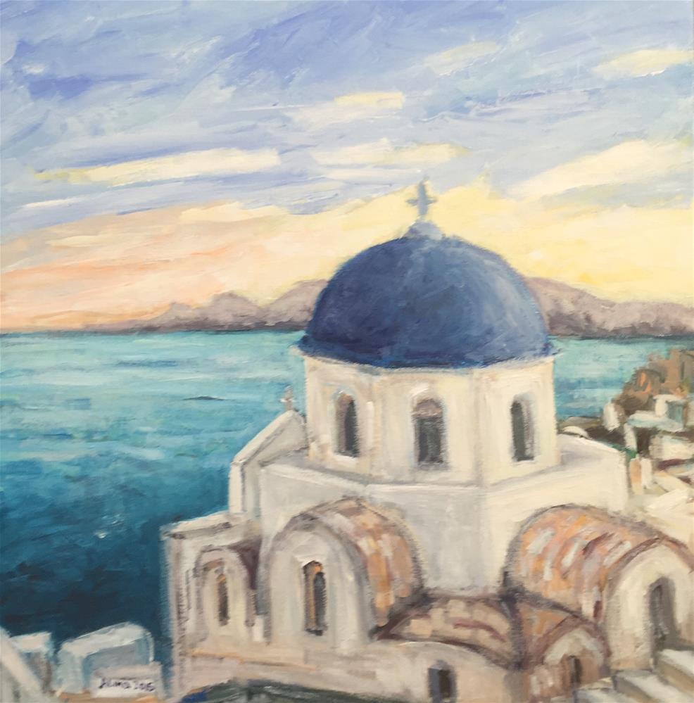 """""""Santorini 16x16"""" original fine art by Alina Vidulescu"""