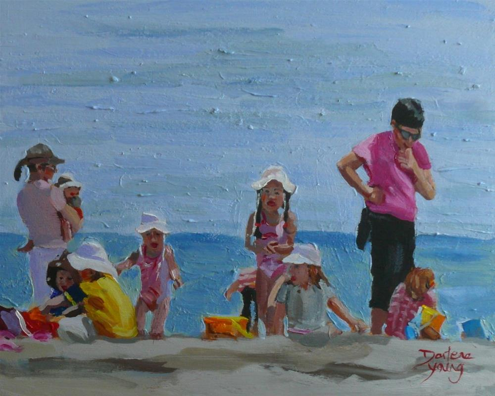 """856 Beach Day, oil on board, 8x10"" original fine art by Darlene Young"